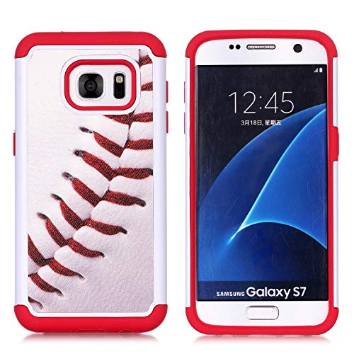 Sunshine - Tech Galaxy S7 Case, S7 Case, Baseball Sports Pattern Shock-Absorption Hard PC and Inner Silicone Hybrid Dual Layer Armor Defender Protective Case Cover for Samsung Galaxy S7