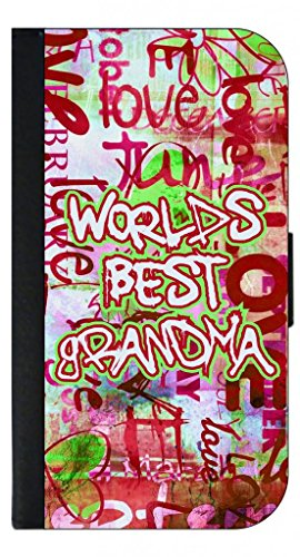 World's Best Grandma-Graffiti Word Art-Punk Backgroud-Iphone 5 Wallet Case with Closing Flip Cover...