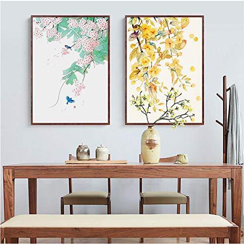 Rjunjie Hojas otoño Planta Lienzo Pintura Acuarela