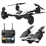 Dinglong (Batterie Double) Drone SHRC H1 Pro 5G Selfi WiFi FPV GPS avec 1080P HD caméra Pliable RC Quadcopter,Temps de vol 25 mins (Blanc)