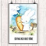 Tiny Tami 'Ich mag dich volle Möhre' Postkarte - Hasen Valentinskarte - 100 % handmade