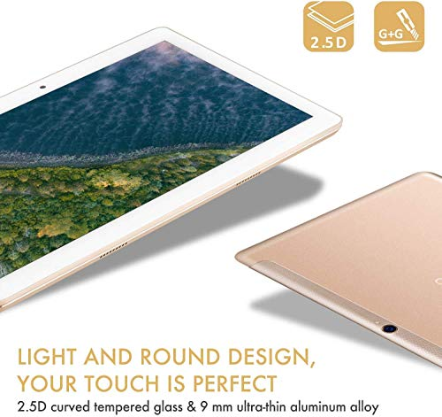 TOSCIDO 4G LTE Tablet PC 10-Zoll-Android 10.0, 4GB RAM, 64GB ROM, Octa Core, Dual-SIM, WLAN, Dual-Stereo-Lautsprecher - Gold