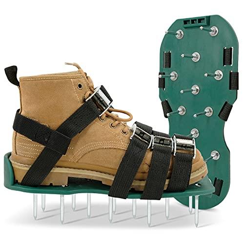 Hortem Sandalias de aireador manual de césped, tamaño universal, vienen con 2 correas ajustables con hebillas seguras, zapatos aireadores de patio para airear eficazmente el suelo del césped
