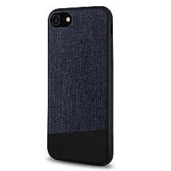 cbf7d03886 Willnorn iPhone8 / iPhone7 キャンバス レザー ケース、オシャレ 高品質 帆布とPU革 カバー、シリコン TPU バンパー  落下防止 保護 (ジーンズ ブルー)