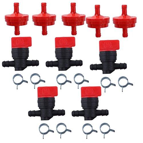 OuyFilters Filtre à carburant 150 microns # 298090S avec valve d'arrêt de carburant 494768 698183 et colliers de serrage pour moteurs Briggs & Stratton