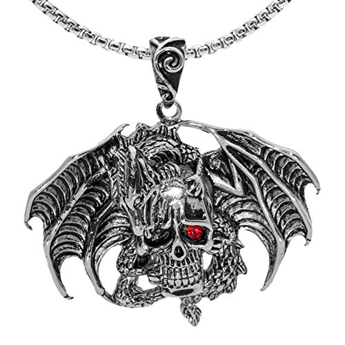 """Dragon Necklace for Men, Gothic Flying Dragon Wings Skull Necklace, Red Eye Skull Pendant Necklace with 23.6"""" Chain, Crystal Skull Head Necklace, Punk Hip Hop Necklace Jewelry Gift for Men Boys"""