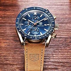 BENYAR Waterproof Chronograph Men Watches Fashion Casual Leather Band Strap Wrist Watch (Brown Blue) #3