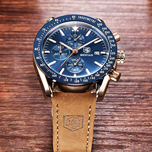 BENYAR Waterproof Chronograph Men Watches Fashion Casual Leather Band Strap Wrist Watch (Brown Blue) steampunk buy now online