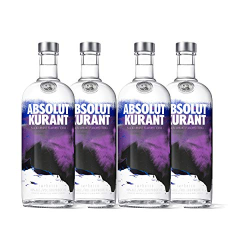 Absolut Vodka Kurant 4er Set, Wodka mit schwedischer Johannisbeere, Spirituose, Alkohol, Flasche, 40%, 4x1 L