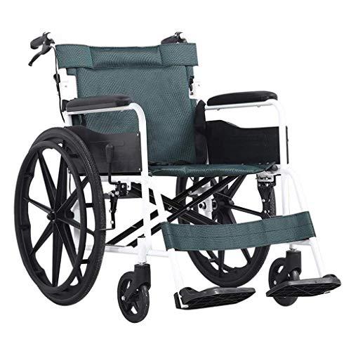 N/Z Equipo Diario Silla de Ruedas Plegable Estructura de Acero Ligero Transporte Ancianos/discapacitados Scooter portátil de Viaje Autopropulsado Negro