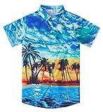 Juniors Boys Aloha Hawaiian Print Shirt Size 11-12 Yrs 3D Pattern Blue Hawaiian Coconut Tree Polo Shirts Apparel Solid Formal Dress for Bithday Party Casual Daliy School Holiday