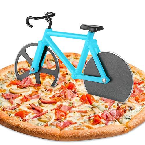 KATELUO Bicicleta Cortador de Pizza,Cortador Pizza Motocicleta,Corta Pizza Bicicleta,Las Herramientas Creativas Cocina Son Ideales para los Amantes de la Pizza. (Azúl)