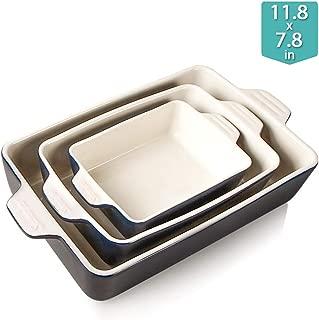 Sweejar Ceramic Bakeware-Set Baking-Dish Lasagna-Pans(Navy)