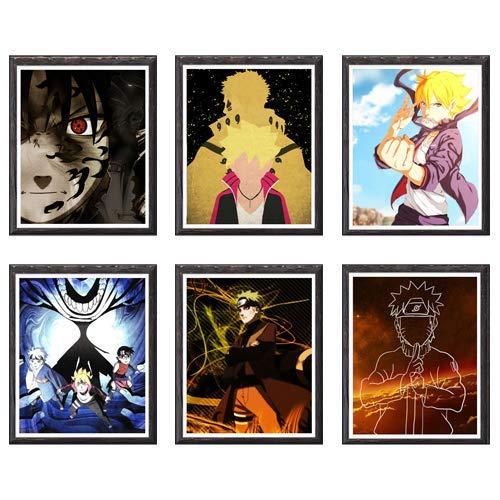 Nuevo Ninja Sasuke Colorido Anime Lienzo Impresión Artística, 20,3 x 25,2 cm, juego de 6, sin marco