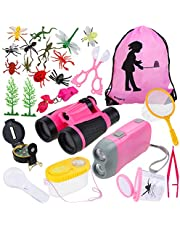 Anpro 25Pcs Kids Outdoor Exploration Toy, Adventure Toy Kit Binoculars Set Outdoor Adventure Set with Carry Bag Funny Gift Toy for Camping Christmas,Pink