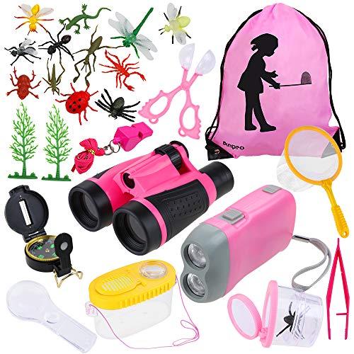 Anpro 25 en 1 Juguetes para Exploraciones de Naturaleza Aventurera para Niños, Binoculares, Silbato, Lupa, Brújula, Regalo para Niños,(Rosado)
