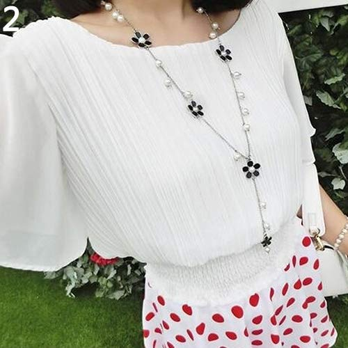 Le yi Wang You Frauen Elegante Perle Blume Pullover Kette Lange Anhänger Halskette Modeschmuck Schwarz
