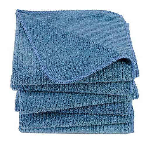 Polyte - Premium-Küchentuch aus Mikrofaser - Geripptes Frottee - 40 x 71 cm - 6 Stück (Blau)