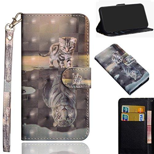 sinogoods Für LG X Power2/X Power 2/M320N/M320F Hülle, Premium PU Leder Schutztasche Klappetui Brieftasche Handyhülle, Standfunktion Flip Wallet Case Cover - Katze Tiger
