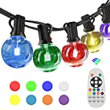 SUNTHIN 27FT G40 Color Changing String Lights for Holiday Party Lights, Patio Backyard, Home and Outdoor Decorative, with Shatterproof RGB G40 Globe Bulb and Wireless 2.4G Remote Controller