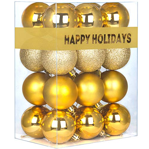 GameXcel 24Pcs Christmas Balls Ornaments for Xmas Tree - Shatterproof Christmas Tree Decorations Perfect Hanging Ball Gold 1.6' x 24 Pack