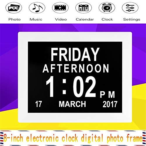 FOOSKOO Digital Picture Fram,8 Zoll HD-Auflösung Digital Frame Elektronische Uhr Mode Tischkalender Geführt Digitaler Bilderrahmen Albumkalender Unterstützt SD-Karte Digital Picture Fr