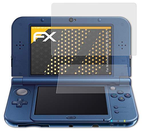 atFoliX Panzerfolie kompatibel mit Nintendo New 3DS XL 2015 Schutzfolie, entspiegelnde und stoßdämpfende FX Folie (3er Set)