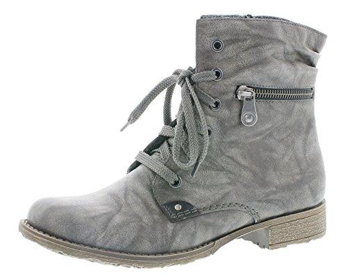 Rieker Damen Schnürstiefelette 708F9,Frauen Stiefel,Boots,Halbstiefel,Schnürboots,Bootie,flach,Blockabsatz 2.7cm,dust/schwarz, EU 38