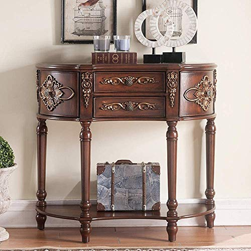 Simple and Creative Decoration Furniture Solid Wood Console Table Hand Painted Carved Half Round Table Hall Console Mini Bedroom End Table Mediterranean Style Sofa Table for Entryway Living Dining Ro