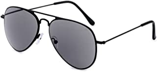 Gudzws Sun Full Lens Reading Glasses Readers Sunglasses Aviator Classic Outdoor Sports Steel Stainless Black Frame Temple Grey Lens Super Simple Style Unisex +1.50 (Not for Driving)