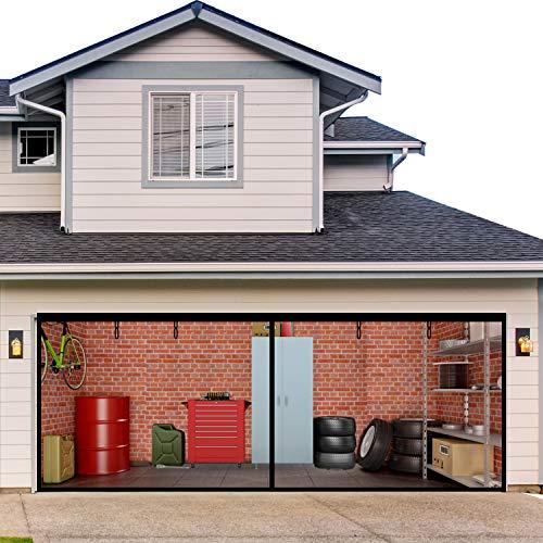Garage Screen Door,Hands Free Fiberglass Magnetic Screen Door 16x7FT for Double Garage Doors with Heavy Duty Mesh Curtain,Retractable Screen with Roll Up Starps