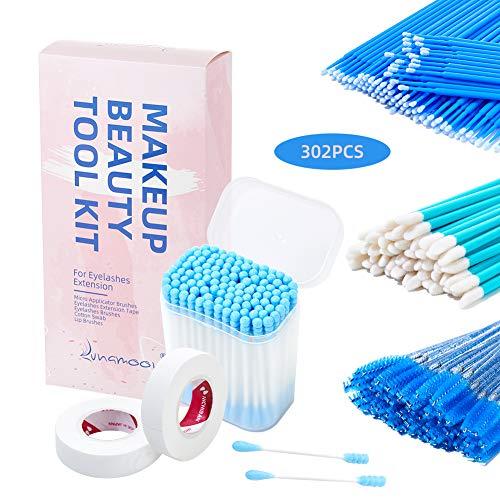 Lunamoon 100 Stück Mikrobürsten+100 Stück Wattestäbchen+50 Stück Mascara Pinsel+50 Stück Lip Gloss Pinsel+2 Pcs Band für Wimpernverlängerung (BLUE SET)