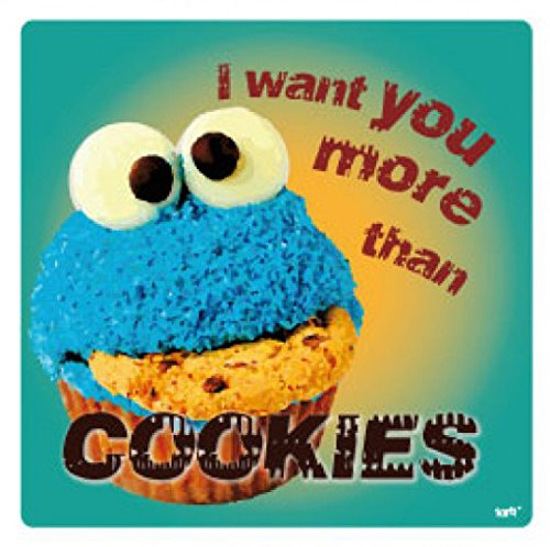 1art1 Amour Poster-Sticker Autocollant - I Want You More Than Cookies (9 x 9 cm)
