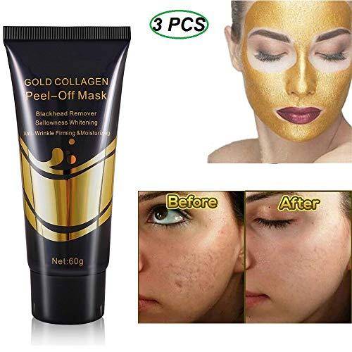 24K Gold Peel-Off gezichtsmasker, collageen whitening anti-verouderingsmasker, comedondrukker maskers voor diepe reiniging van het gezicht (3PCS)