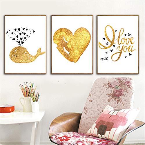 Dibujos Animados Gold Whale Heart L Print Nordic Canvas Painting Poster Decoración para el hogar Imagen de Pared Sala de Estar Dormitorio -19.6'x 27.5' (50x70cm) x3 Sin Marco