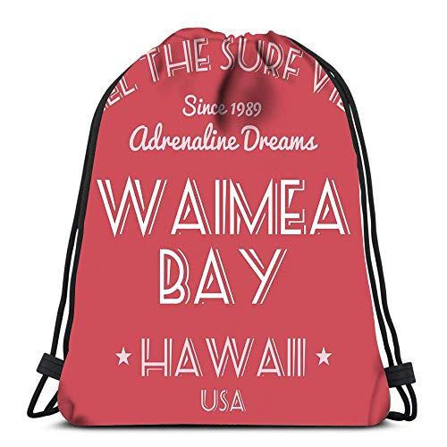 Arvolas Mochilas con cordón Mochila Moda Surf Vacaciones Waimea Bay Hawaii EE. UU. Viajes Gimnasio Bolsas Mochila Bolsos de Hombro