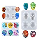 LET'S Resin 3PSC Alien Skull Resin Molds, Silicone Alien Resin Molds with Epoxy Resin Skull Molds, Jewelry Silicone Molds for Pendant, Necklace, Resin Crafts DIY