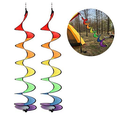 QoFina 2 St. Buntes Windspiel Wind Spinner Zelt UV-beständig und Wetterfest, bunt, Windspiel für Garten und Zuhause