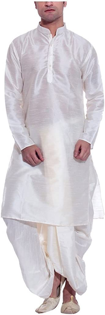 ROYAL Men's Silk Blend Dhoti & Kurta Set_Offwhite