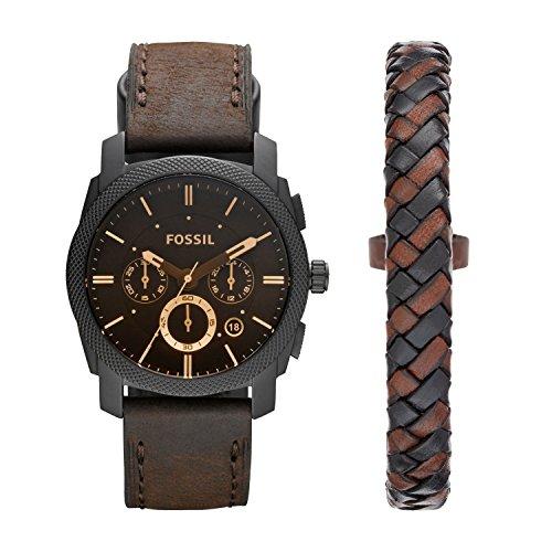 Fossil Men's Machine Chrono Quartz Leather Chronograph Watch, Color: Black, Brown Bracelet Set (Model: FS5251SET)