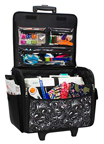 Everything Mary Rolling Sewing Machine Tote, Black & White - Sewing Machine Case Fits Most Standard Brother & Singer Sewing Machines, Sewing Bag with Wheels & Handle - Craft and Hobby Storage