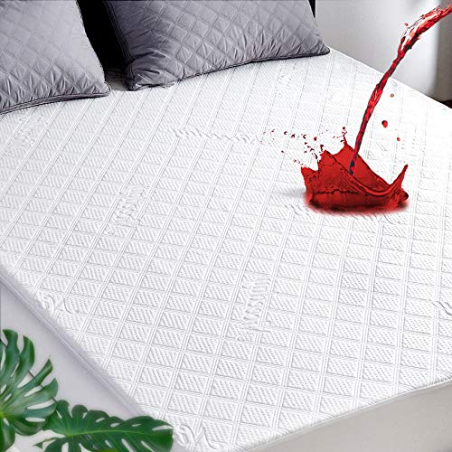 Cooling Mattress Protector King, Cooling Bamboo Waterproof Mattress Protector, Ultra Soft 3D Air Fabric Mattress Pad Cover Waterproof Sheets