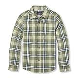 The Children's Place Big Boys' Long Sleeve Poplin Button Down Shirt, Portland Lime