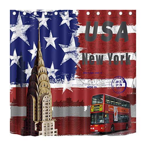 JHTRSJYTJ Bandera Americana Nueva York Bus Cortina de Ducha Impermeable Impresa en HD,Lavable,sin decoloración,180X180cm,12ganchos,decoración de baño