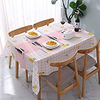Tablecloth, PVC Rectangular Vinyl Table Cloth, Waterproof Wipe Clean Table Cover 54 x 70 inch, Dust-Proof Washable & Reusa...