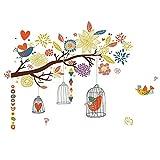 TFOOD Sticker Mural,Branche Colorée Oiseau Cage Murale Décalque Amovible Adapté pour Chambre Salon Chambre d'enfants Décoration De La Maison Bricolage