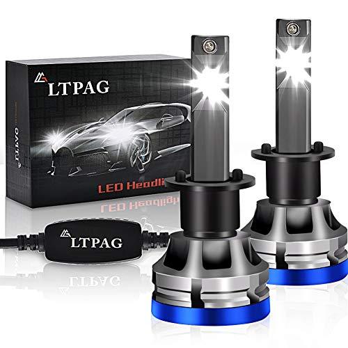 H1 LED, LTPAG Bombilla H1 LED Coche,72W Lampara H1 LED 12000LM Luces LED Coche H1 -CSP Chips 12V/24V Sin Polaridad Faros Reemplazo de Halógena y Kit Xenón H1,Blanco 6000K,Garantía de 2 años para faros