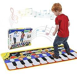 Piano Matte, Tanzmatten Klaviermatte Musikmatte Kinder, 5 Modi 8 Instrumente Sounds Spielzeug Musik Matte, Keyboard Matten Spielteppich Baby Tanzmatte fur Kinder 110x36cm