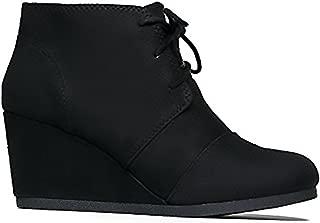 City Classified Women's Rex Almond Toe Lace Up Hidden Wedge 2 3/4 Ankle Bootie