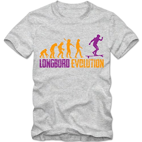 Longboard #1 T-Shirt | Down Hill | Skate | Surf | Herren | Shirt, Farbe:Graumeliert (Grey Melange L190);Größe:XL